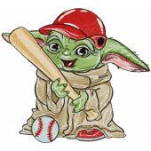 Yoda baseball player embroidery design