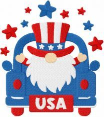 4th of july gnome on truck embroidery design