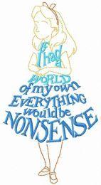 Alice phrase dress embroidery design