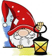 Alone gnome with lantern embroidery design