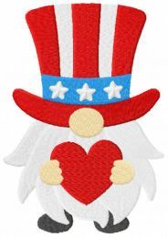American gnome with heart embroidery design