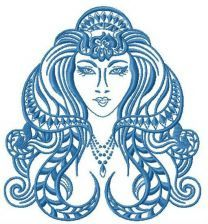 Ancient woman machine embroidery design 2