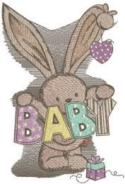 Baby bunny toy for newborn embroidery design