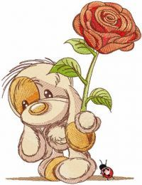 Baby dog with rose embroidery design