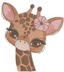 Baby giraffe embroidery design