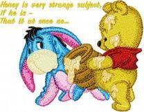 Baby Pooh and Eeyore with honey embroidery design
