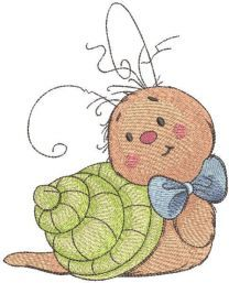 Baby snail artist embroidery design