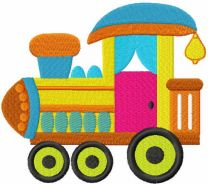 Baby toy train embroidery design