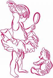 Ballerina with teddy toy embroidery design