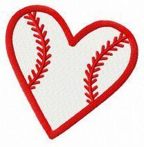 Baseball heart embroidery design 3