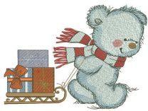 Bear in a warm striped scarf 3