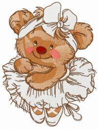 Bear the ballerina embroidery design 2