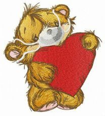 Bear with medical mask embroidery design