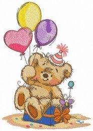 Bear's birthday embroidery design