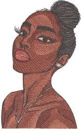 Beautiful women bundle of hair embroidery design