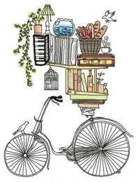 Book shelves and bike