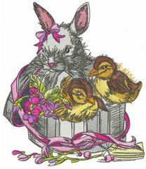 Box with bunny and ducklings