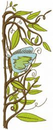 Branch with butterfly embroidery design