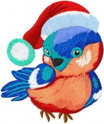 Bullfinch with Christmas hat embroidery design