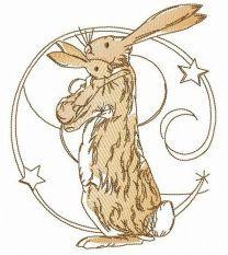 Bunnies hug embroidery design