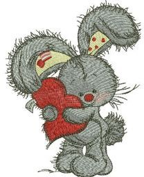 Bunny hugs your heart embroidery design