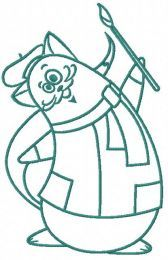 Cat the painter embroidery design 2