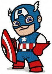 Chibi Captain America machine embroidery design