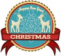 Two Deer Christmas Label machine embroidery design