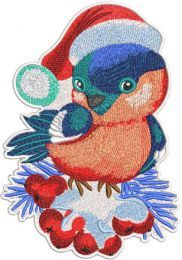 Christmas bullfinch with berries embroidery design