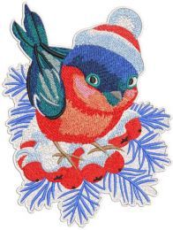 Christmas bullfinch with knitted hat embroidery design