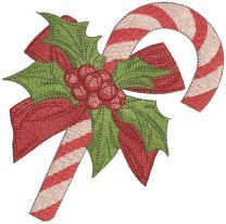 Christmas candy cane with wreath embroidery design
