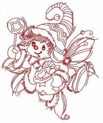 Christmas elf machine embroidery design 2