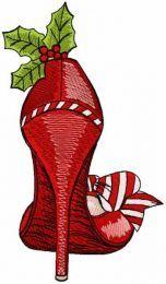 Christmas high heel embroidery design