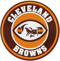 Cleveland browns round logo embroidery design