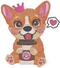 Princess Corgi like coffee embroidery design
