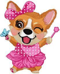 Corgi party embroidery design