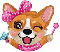 Corgi party time embroidery design
