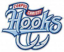 Corpus Christi Hooks team logo machine embroidery design