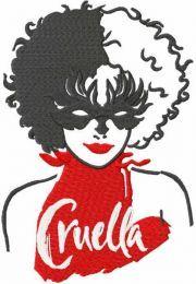 Cruella mask embroidery design