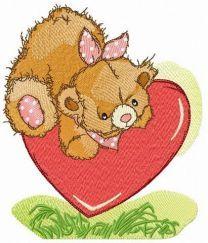 Cute bear on meadow embroidery design