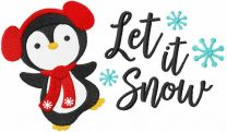 Dancing Christmas penguin embroidery design