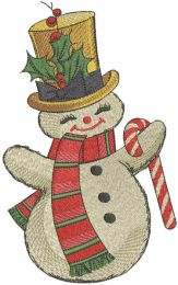 Dancing snowman candy cane embroidery design