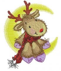 Deer in red knitted scarf on moon