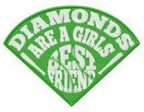 Diamonds are girl's best friend fan embroidery design