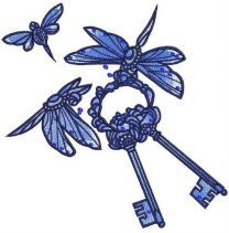 Dragonflies with keys embroidery design