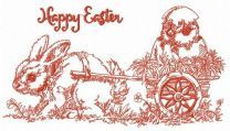 Easter bunny with cart machine embroidery design