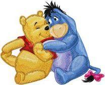 Eeyore and Winnie Pooh - friends machine embroidery design