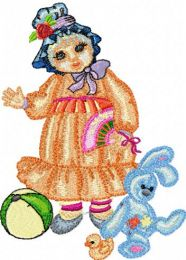 Doll with Toys embroidery design