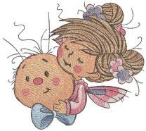 Fairy friends with snail embroidery design
