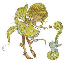 Fairy in polka dot dress with bunny
